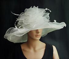 Elegante Cappello da donna in avorio bianco Organza Sposa Di Matrimonio F5 NUOVO
