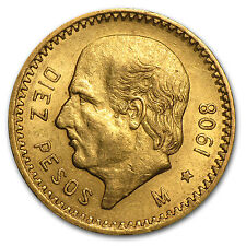 1908 Mexico Gold 10 Pesos XF - SKU #85491