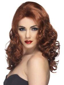 Glamourous Wig Auburn Long Wavy Fancy Dress Costume Accessory Ladies New