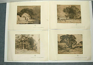 4 antique prints by Alfred East. Taken from etchings / aquatint. Cotswolds scene