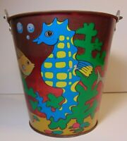 Vtg 1960s Metal Sand Pail Bucket Metallic Tropical Fish Seahorses Bryan Ohio Art