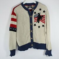 Roughrider by Circle T Vintage Cardigan Sweater American Flag Wyoming Women's Lg