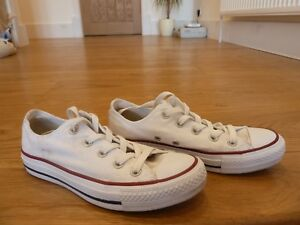 Converse Trainers White Canvas All Star Size UK 4 Unisex Chuck Taylor ( Used)
