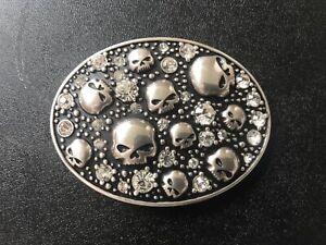 "Harley-Davidson women's ""Galaxy"" skull belt buckle.#HDWBU10273.Silver plaiting."