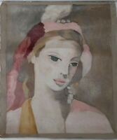 MARIE LAURENCIN oil on canvas painting signed & stamped ONLY CANVAS