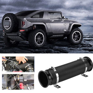 76mm 3inch Car Cold Air Intake Inlet Pipe Flexible Duct Tube Hose Kit Black af