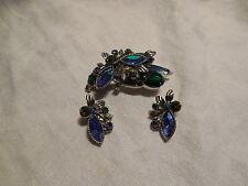 Juliana style green/blue aurora borealis stones rhinestones brooch & earrings