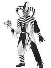 NEW Scary Evil Jester Joker Circus Freak Clown Mens Halloween Costume Cosplay SM