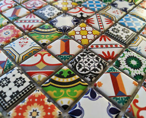 NEW MOROCCAN VICTORIAN STYLE CERAMIC SQUARE MOSAIC WALL TILES TURKISH GEOMETRIC