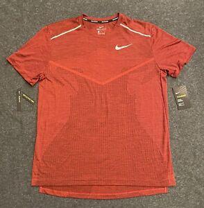 Men's Nike Tech Knit Ultra Slim-Fit Running Shirt Top AJ7615-498 Red  Size LARGE