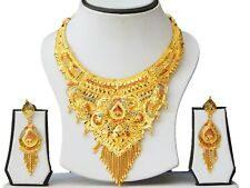 Indian Bridal Wedding Necklace Earrings 22k Gold Plated Jewelry Set A64
