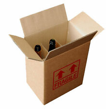 15 x DOUBLE WALL Cardboard Wine Bottle Box Printed Fragile Holds 6 Bottles 335mm