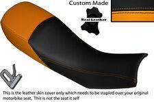 BLACK & ORANGE CUSTOM FITS HARTFORD VR 125 DUAL LEATHER SEAT COVER ONLY