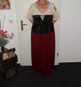 Mittelalterkleid Größe XL weinrot / schwarz +  Haube