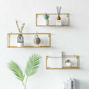 Wall Shelves Storage gold Black metal Wood Decor Display Shelf Wrought Iron Cube