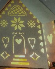 """8"""" tall Laser Cut White Metal Glowing Tealight House Holder"""