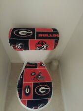 Georgia Bulldogs Fleece Fabric Toilet Seat and Tank Lid  Cover Set