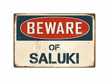 "Beware Of Saluki 8"" x 12"" Vintage Aluminum Retro Metal Sign Vs367"
