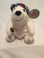 New Coca-Cola Polar Bear in Blue Night Cap, 5 inches, Style #0169 Bean Bag Plush