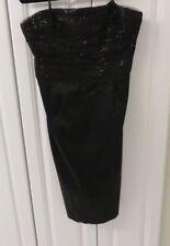 Lauren Ralph Lauren Women'Black Satin Strapless Sequined Mesh Trim Dress Size 14