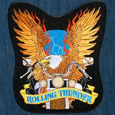 Rolling Thunder Biker Event Eagle Logo Large Embroidered Back Patch Backpatch