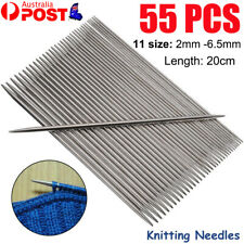 55 PCS Double Pointed Stainless Knitting Needles Set 11 Size 2mm -6.5mm AU