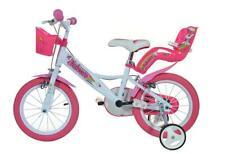 "Dino Unicorn 14"" Kids Single Speed Bike Girls Bicycle Pink w Stabilisers 144R-UN"