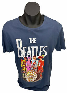 The Beatles Mens Blue T-Shirt Size L Tag Licensing Essentials