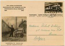 RAILWAY ILLUSTRATED STATIONERY CARD SWITZERLAND 1947 USED to BELGIUM