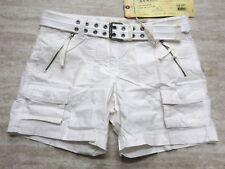 NEW Da Nang Women's Summer Shorts Belted Front Pockets WHITE HPG5391 LARGE L