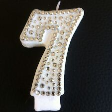 7th Seventh Birthday (seven) CANDLE Diamante Cake Topper Party FREEPOST uk item