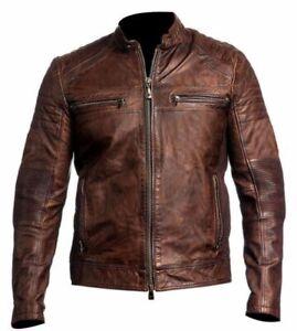 Mens Biker Vintage Motorcycle Distressed Brown Cafe Racer Real Leather Jacket-B3