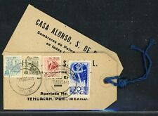 MEXICO Postal History Lot #1 1954 REG Parcel Post Tag $6.50P TEHUACAN - TIJUANA