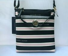 Tommy Hilfiger Adjustable Strap Purse With Pouch White, Navy &  Pink Striped