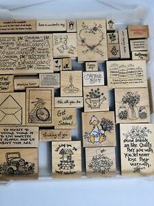 Wood Rubber Stamps Arts/Crafts Projects Lot Of 35 Various Sizes With Case