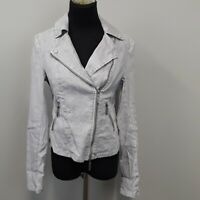 Level 99 Anthropologie Gray Linen Zip Up utility Jacket women's size small