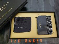 TED BAKER Card Holder + Pocket Square Gift Set Black Spot Leather 2in1 Box RP£60