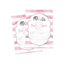 50 Fill in Elephant Baby Shower Invitations, Baby Shower Invitations, Jungle,