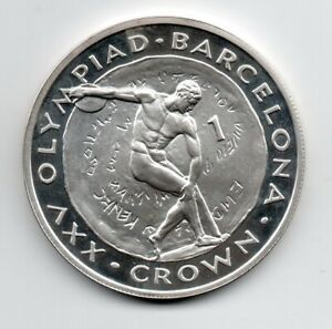 Gibraltar 1991 1 Crown Silver Barcelona 1992  Olympics Discus Thrower KM 66a Prf