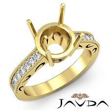 Round Diamond Engagement Milgrain Filigree Ring 18k Yellow Gold SemiMount 0.25Ct