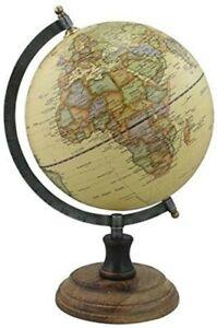 Globus im Antikstil mit Fuß aus Holz,Eisen, Messing H 32 cm- beige