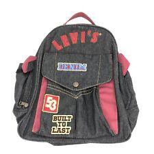 Levi's Denim Cotton Vintage Black Jean Backpack School Bag Excellent Condition