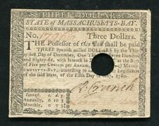 MA-280 MAY 5, 1780 $3 THREE DOLLARS MASSACHUSETTS-BAY COLONIAL CURRENCY (B)