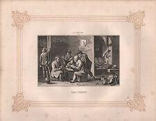 C1850 stampa Vittoriana ~ Giocatori di carte ~ D. TENIERS