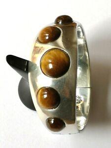 Traumhafter Vintage Designer Armreif massiv Sterling Silber, Tigerauge Cabochons
