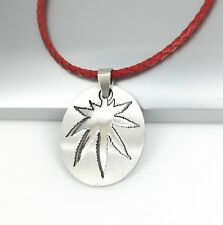 Silver Army Dog Tag Marijuana Weed Cannabis Pendant Braided Red Leather Necklace