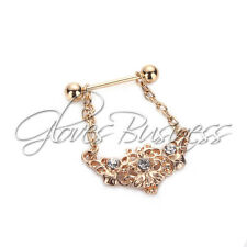 1 Pair Gold Plating Nipple Rings 14G 316L Surgical Steel With Rhinestone