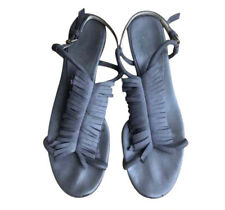 Stella McCartney Fringe T-Strap Sandals- Vegan Leather- Gray, 39