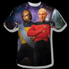 Star Trek The Next Generation Picard and Worf One Sided Sublimation T-Shirt