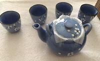 NEW Handpainted 5 Piece Tea Stoneware Set. Teapot + 4 Cups